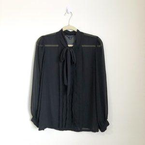 Banana Republic Black Long Sleeve Sheer Blouse